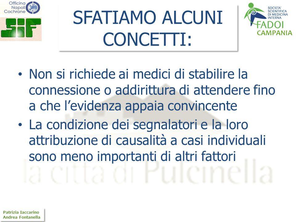 CAMPANIA Patrizia Iaccarino Andrea Fontanella Patrizia Iaccarino Andrea Fontanella SFATIAMO ALCUNI CONCETTI: Non si richiede ai medici di stabilire la