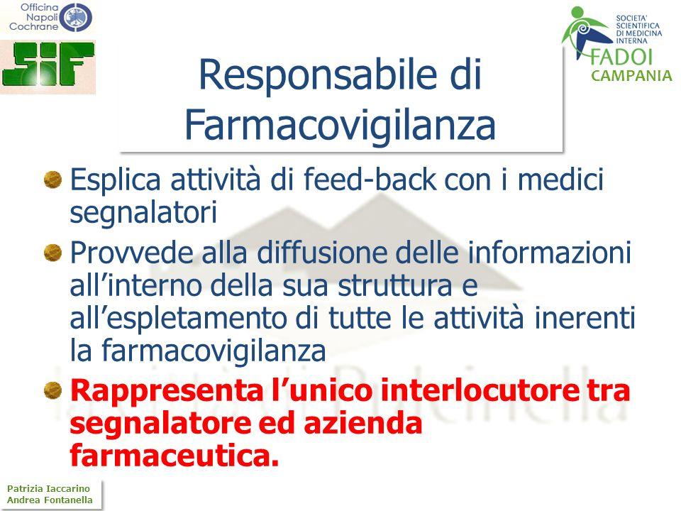 CAMPANIA Patrizia Iaccarino Andrea Fontanella Patrizia Iaccarino Andrea Fontanella Responsabile di Farmacovigilanza Esplica attività di feed-back con
