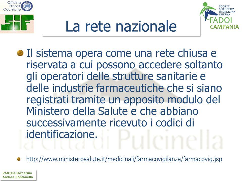CAMPANIA Patrizia Iaccarino Andrea Fontanella Patrizia Iaccarino Andrea Fontanella La rete nazionale Il sistema opera come una rete chiusa e riservata