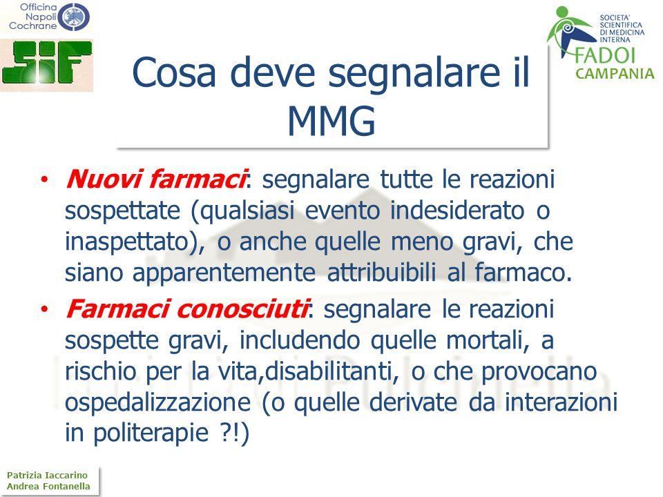 CAMPANIA Patrizia Iaccarino Andrea Fontanella Patrizia Iaccarino Andrea Fontanella Cosa deve segnalare il MMG Nuovi farmaci: segnalare tutte le reazio