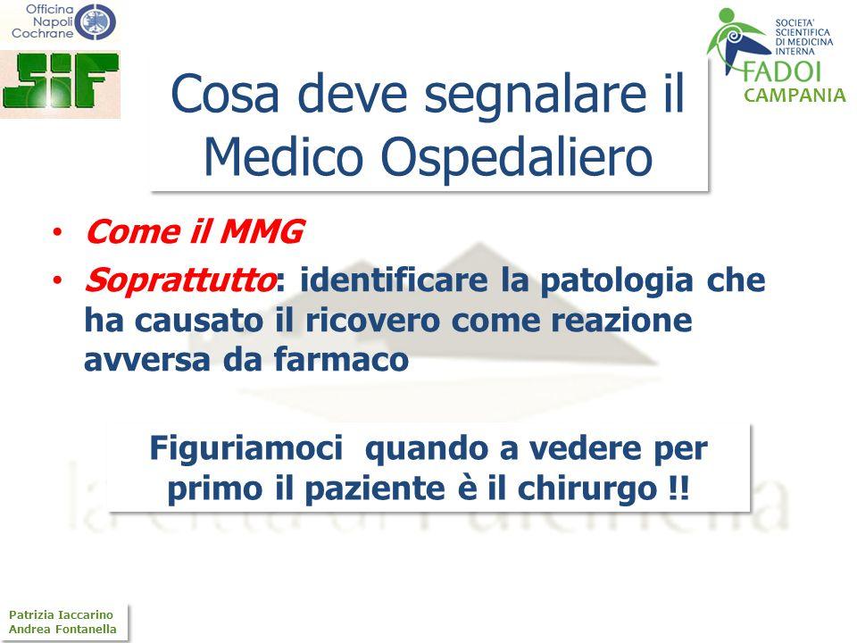 CAMPANIA Patrizia Iaccarino Andrea Fontanella Patrizia Iaccarino Andrea Fontanella Cosa deve segnalare il Medico Ospedaliero Come il MMG Soprattutto: