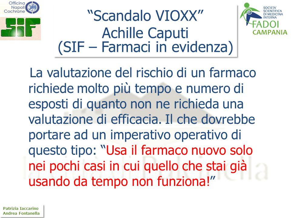 CAMPANIA Patrizia Iaccarino Andrea Fontanella Patrizia Iaccarino Andrea Fontanella La valutazione del rischio di un farmaco richiede molto più tempo e