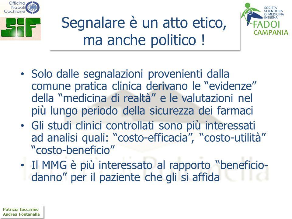 CAMPANIA Patrizia Iaccarino Andrea Fontanella Patrizia Iaccarino Andrea Fontanella Segnalare è un atto etico, ma anche politico ! Solo dalle segnalazi