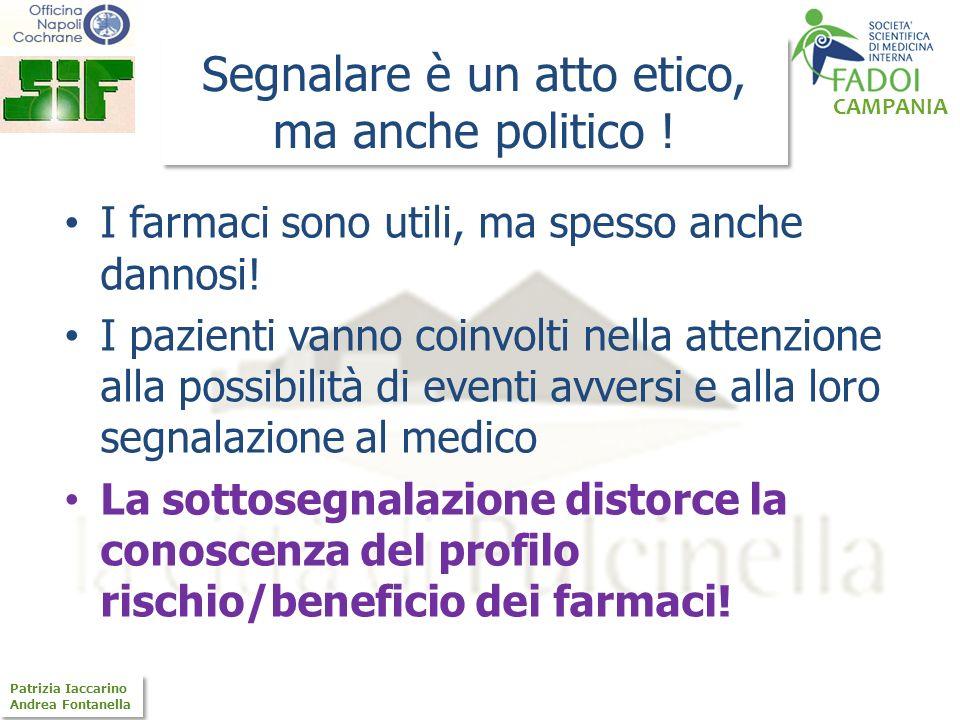 CAMPANIA Patrizia Iaccarino Andrea Fontanella Patrizia Iaccarino Andrea Fontanella Segnalare è un atto etico, ma anche politico ! I farmaci sono utili