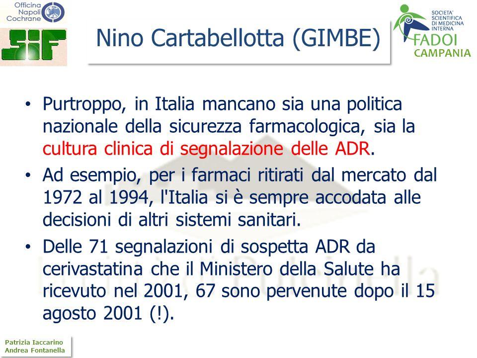 CAMPANIA Patrizia Iaccarino Andrea Fontanella Patrizia Iaccarino Andrea Fontanella Nino Cartabellotta (GIMBE) Purtroppo, in Italia mancano sia una pol
