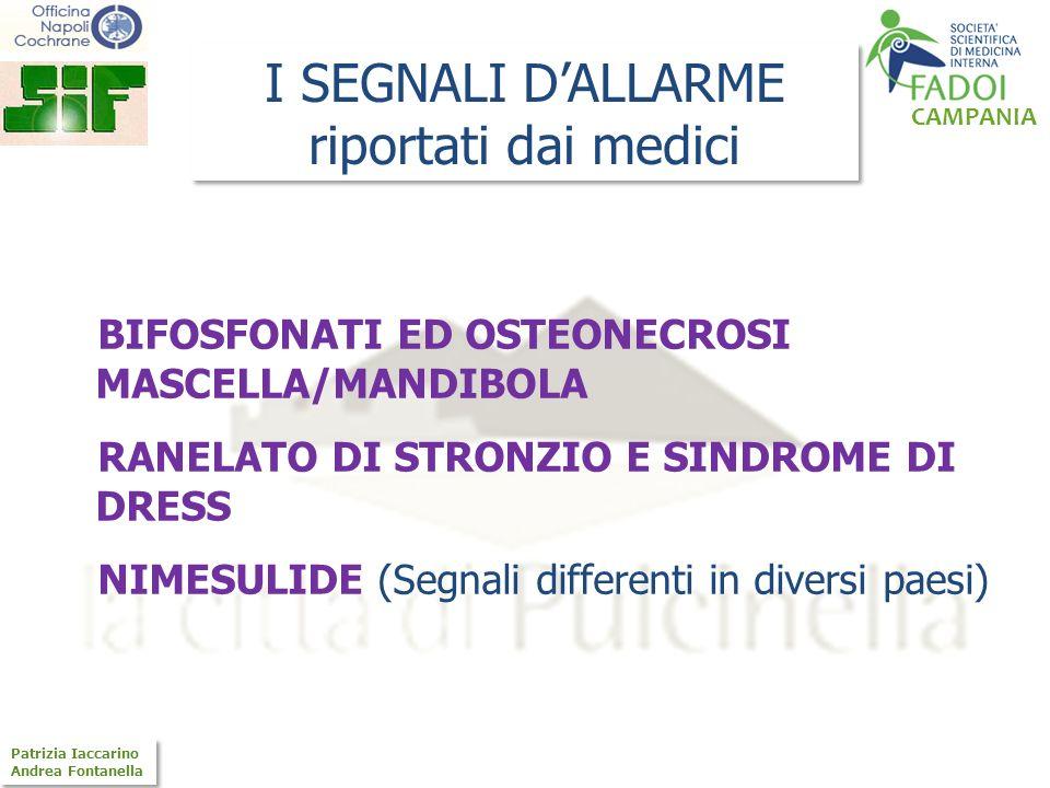 CAMPANIA Patrizia Iaccarino Andrea Fontanella Patrizia Iaccarino Andrea Fontanella I SEGNALI DALLARME riportati dai medici BIFOSFONATI ED OSTEONECROSI