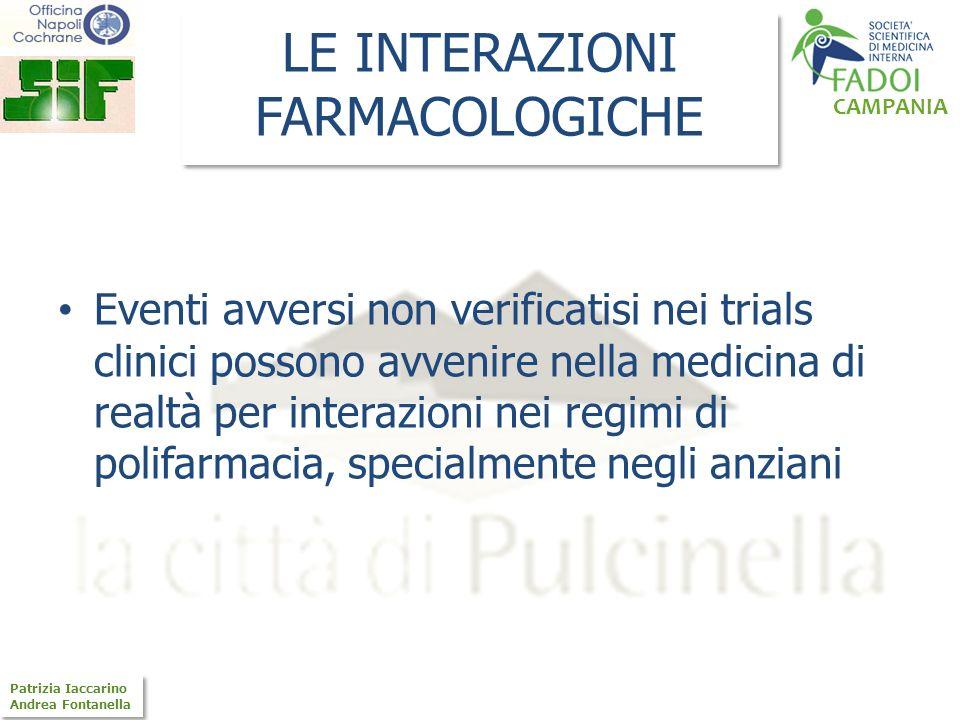 CAMPANIA Patrizia Iaccarino Andrea Fontanella Patrizia Iaccarino Andrea Fontanella LE INTERAZIONI FARMACOLOGICHE Eventi avversi non verificatisi nei t