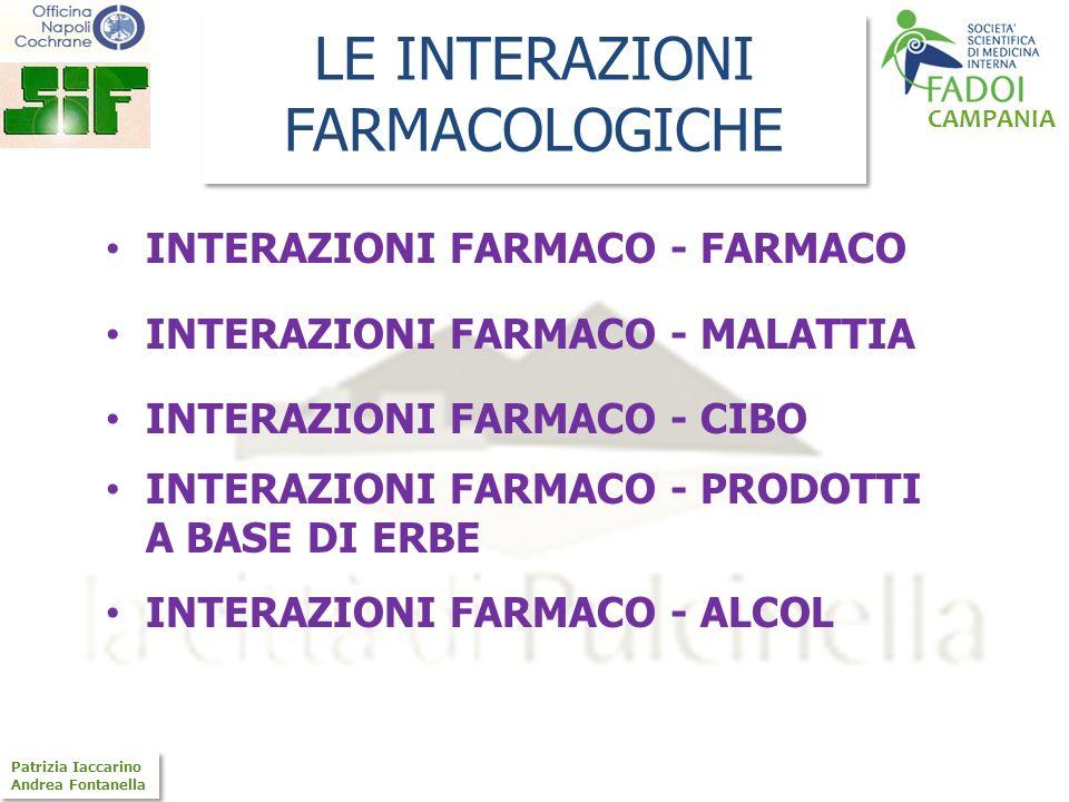 CAMPANIA Patrizia Iaccarino Andrea Fontanella Patrizia Iaccarino Andrea Fontanella LE INTERAZIONI FARMACOLOGICHE INTERAZIONI FARMACO - FARMACO INTERAZ