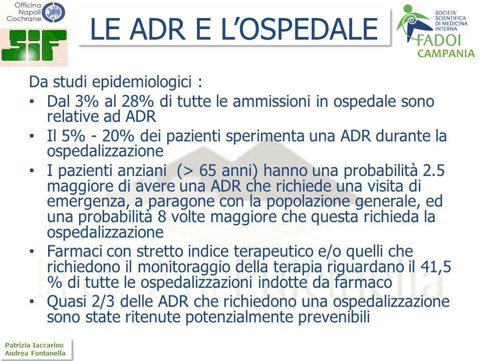 CAMPANIA Patrizia Iaccarino Andrea Fontanella Patrizia Iaccarino Andrea Fontanella Da studi epidemiologici : Dal 3% al 28% di tutte le ammissioni in o