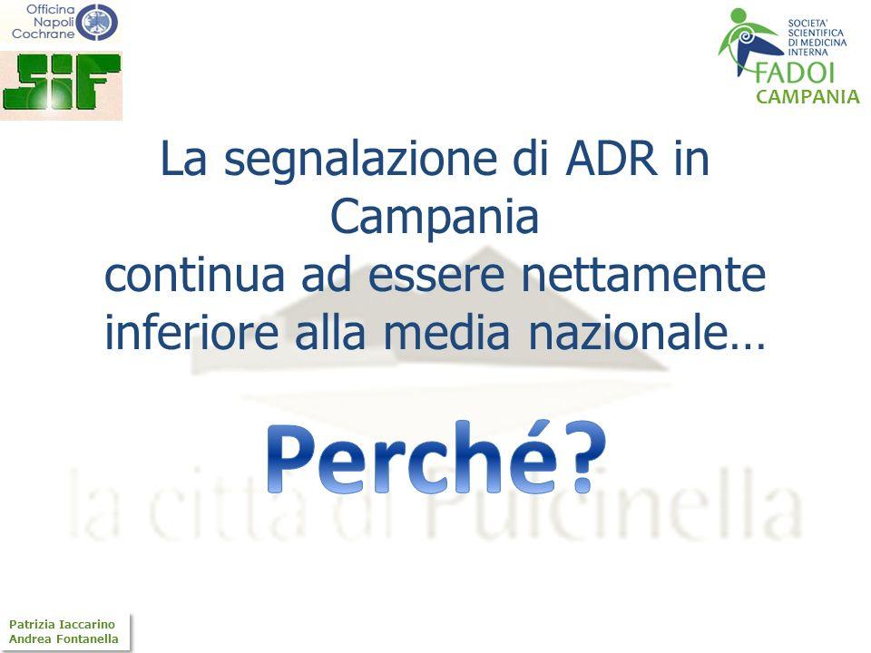 CAMPANIA Patrizia Iaccarino Andrea Fontanella Patrizia Iaccarino Andrea Fontanella La segnalazione di ADR in Campania continua ad essere nettamente in