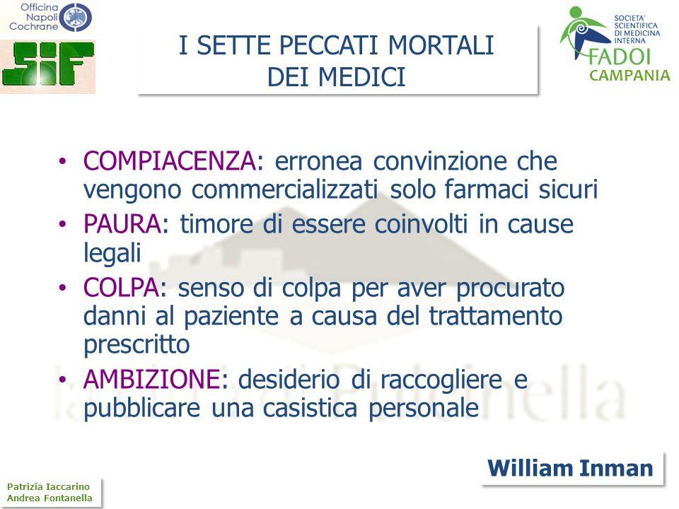 CAMPANIA Patrizia Iaccarino Andrea Fontanella Patrizia Iaccarino Andrea Fontanella SFATIAMO ALCUNI CONCETTI: Non esistono farmaci sicuri, esistono solo medici sicuri (B.