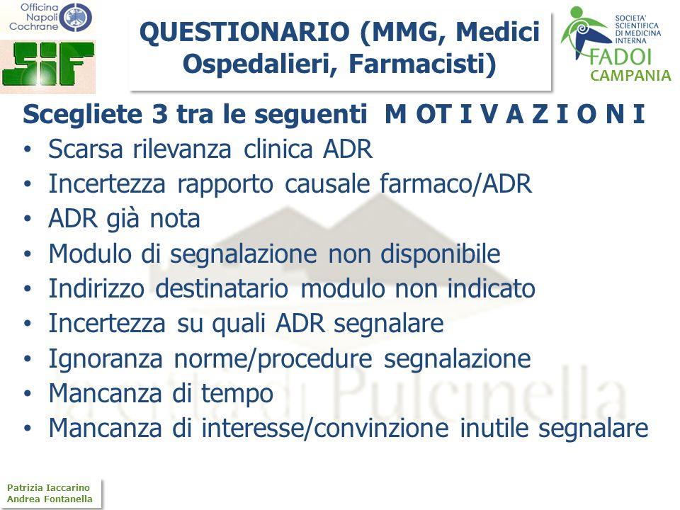 CAMPANIA Patrizia Iaccarino Andrea Fontanella Patrizia Iaccarino Andrea Fontanella Scegliete 3 tra le seguenti M OT I V A Z I O N I Scarsa rilevanza c