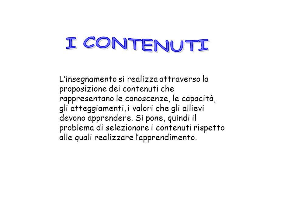 Linsegnamento si realizza attraverso la proposizione dei contenuti che rappresentano le conoscenze, le capacità, gli atteggiamenti, i valori che gli a