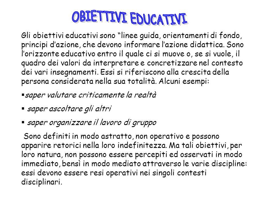 Gli obiettivi educativi sono linee guida, orientamenti di fondo, principi dazione, che devono informare lazione didattica. Sono lorizzonte educativo e