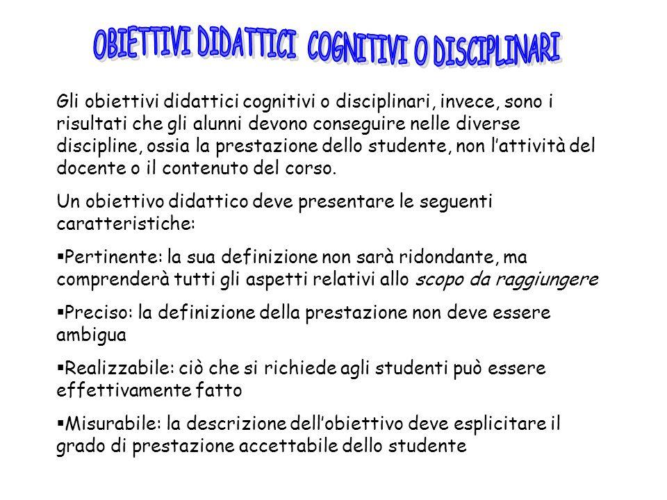 Gli obiettivi didattici cognitivi o disciplinari, invece, sono i risultati che gli alunni devono conseguire nelle diverse discipline, ossia la prestaz
