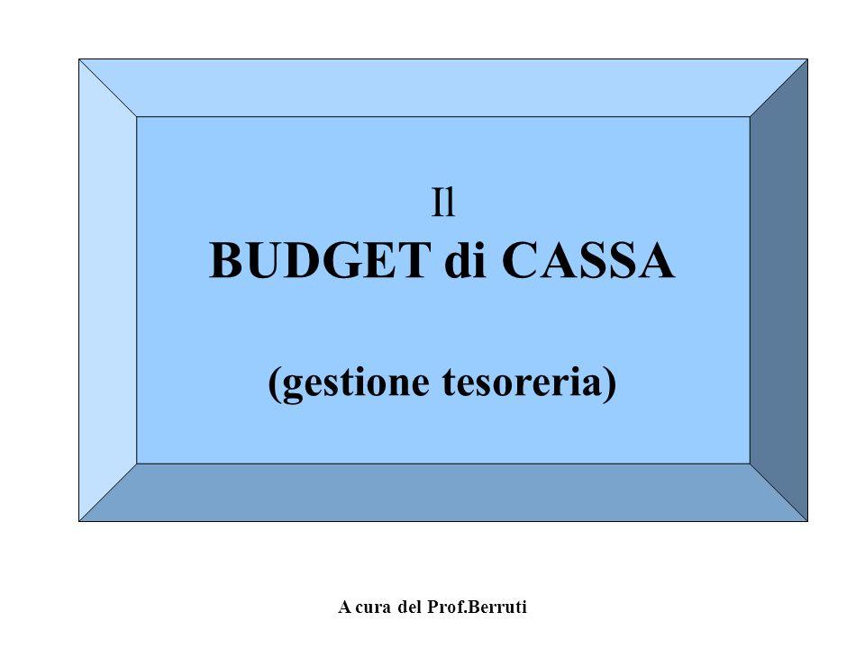 Il BUDGET di CASSA (gestione tesoreria) A cura del Prof.Berruti