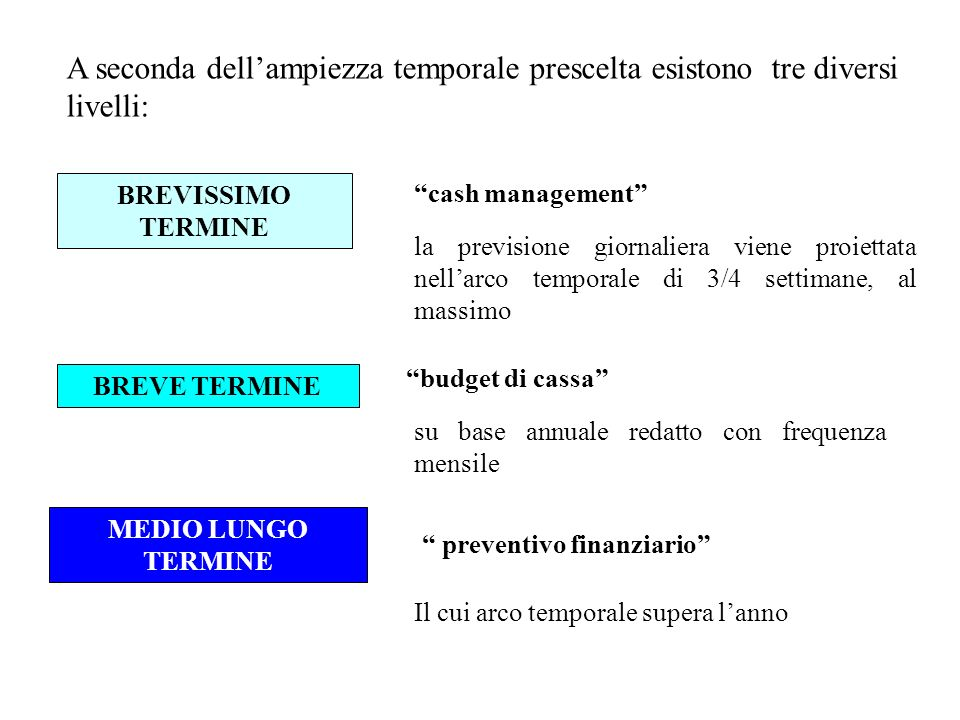 A seconda dellampiezza temporale prescelta esistono tre diversi livelli: BREVISSIMO TERMINE cash management la previsione giornaliera viene proiettata