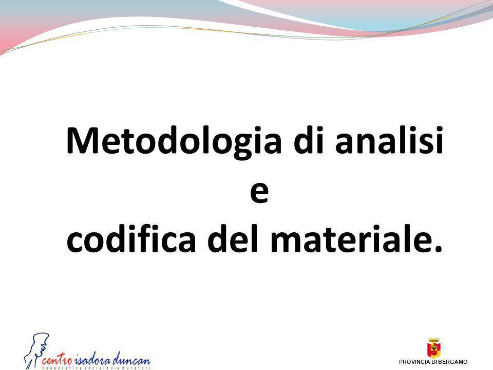 Metodologia di analisi e codifica del materiale. PROVINCIA DI BERGAMO