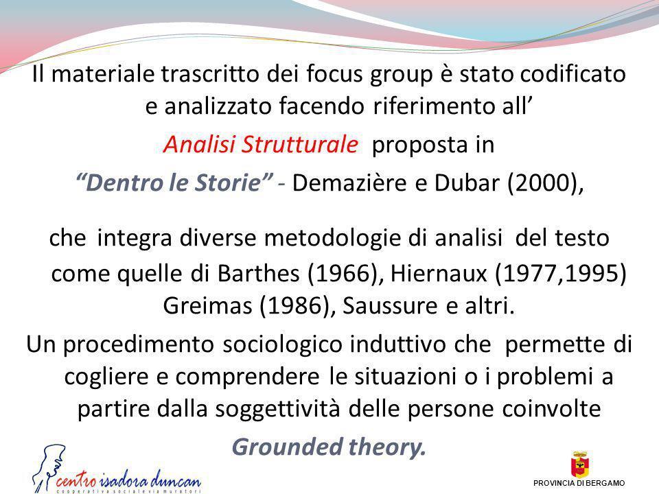 Il materiale trascritto dei focus group è stato codificato e analizzato facendo riferimento all Analisi Strutturale proposta in Dentro le Storie - Dem