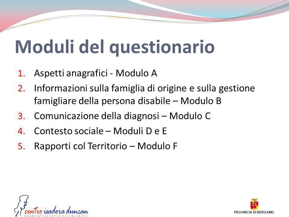 Moduli del questionario 1. Aspetti anagrafici - Modulo A 2. Informazioni sulla famiglia di origine e sulla gestione famigliare della persona disabile