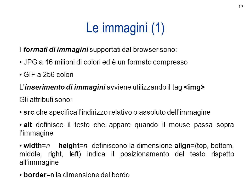 Le immagini (1) I formati di immagini supportati dal browser sono: JPG a 16 milioni di colori ed è un formato compresso GIF a 256 colori Linserimento