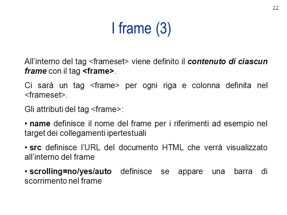 I frame (3) Allinterno del tag viene definito il contenuto di ciascun frame con il tag. Ci sarà un tag per ogni riga e colonna definita nel. Gli attri