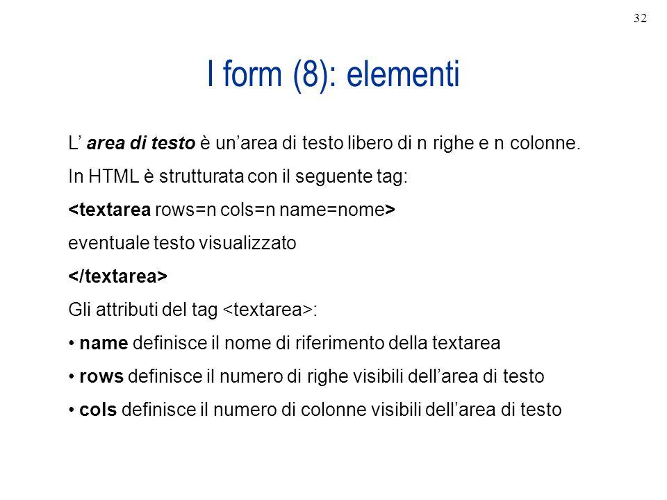 I form (8): elementi L area di testo è unarea di testo libero di n righe e n colonne. In HTML è strutturata con il seguente tag: eventuale testo visua