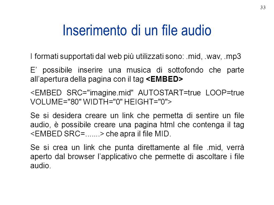 Inserimento di un file audio I formati supportati dal web più utilizzati sono:.mid,.wav,.mp3 E possibile inserire una musica di sottofondo che parte a
