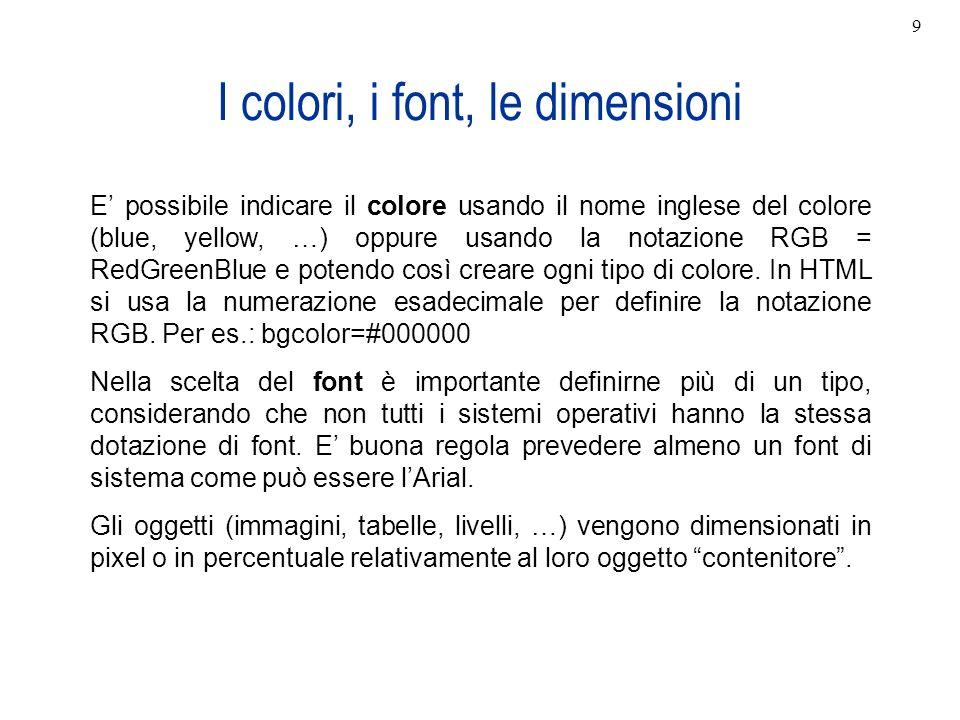 I colori, i font, le dimensioni E possibile indicare il colore usando il nome inglese del colore (blue, yellow, …) oppure usando la notazione RGB = Re