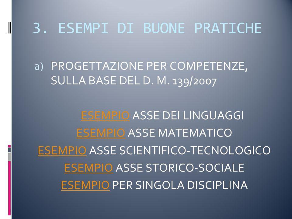 3. ESEMPI DI BUONE PRATICHE a) PROGETTAZIONE PER COMPETENZE, SULLA BASE DEL D.