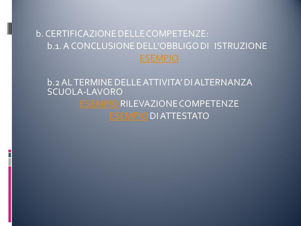 b. CERTIFICAZIONE DELLE COMPETENZE: b.1.