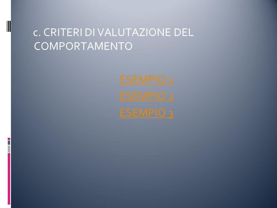 c. CRITERI DI VALUTAZIONE DEL COMPORTAMENTO ESEMPIO 1 ESEMPIO 2 ESEMPIO 3