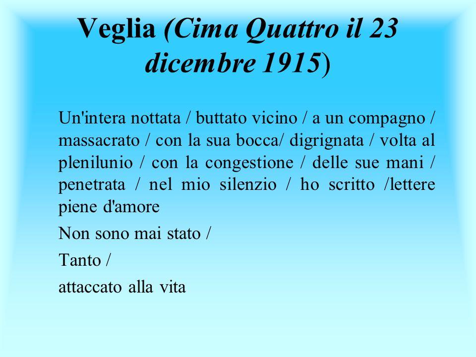Veglia (Cima Quattro il 23 dicembre 1915) Un'intera nottata / buttato vicino / a un compagno / massacrato / con la sua bocca/ digrignata / volta al pl