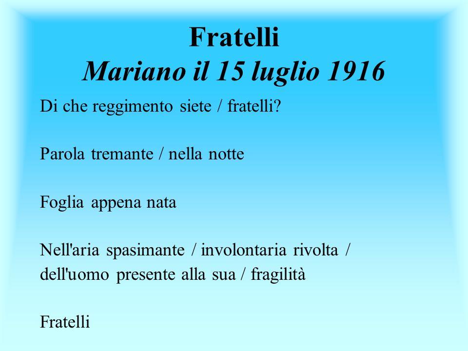 Fratelli Mariano il 15 luglio 1916 Di che reggimento siete / fratelli? Parola tremante / nella notte Foglia appena nata Nell'aria spasimante / involon