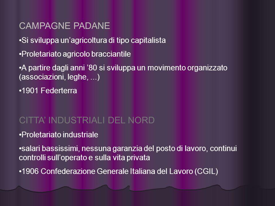 CAMPAGNE PADANE Si sviluppa unagricoltura di tipo capitalista Proletariato agricolo bracciantile A partire dagli anni 80 si sviluppa un movimento orga
