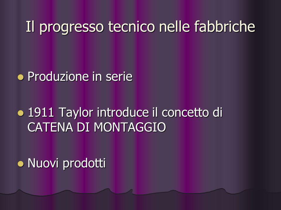Il progresso tecnico nelle fabbriche Produzione in serie Produzione in serie 1911 Taylor introduce il concetto di CATENA DI MONTAGGIO 1911 Taylor intr