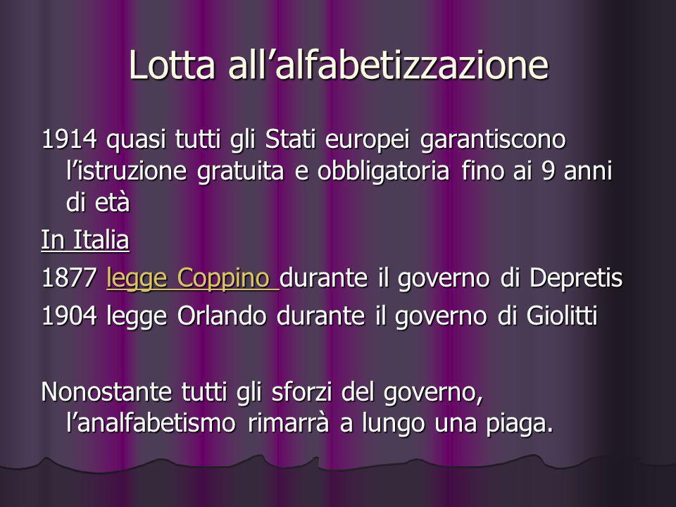 Lotta allalfabetizzazione 1914 quasi tutti gli Stati europei garantiscono listruzione gratuita e obbligatoria fino ai 9 anni di età In Italia 1877 leg