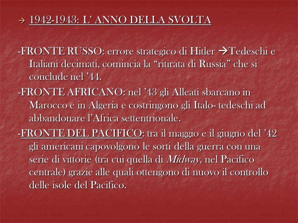1942-1943 : L ANNO DELLA SVOLTA 1942-1943 : L ANNO DELLA SVOLTA -FRONTE RUSSO: errore strategico di Hitler Tedeschi e Italiani decimati, comincia la r