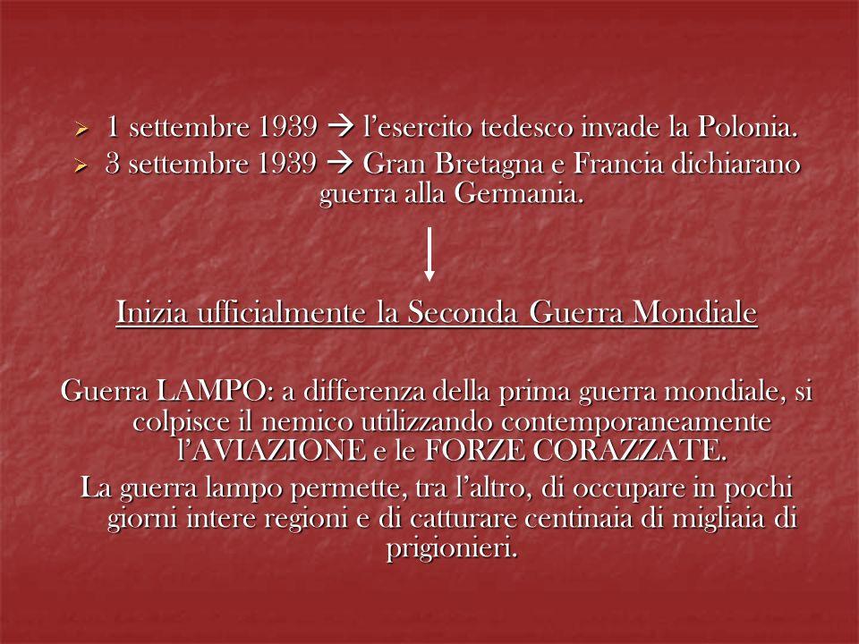 Mussolini dichiara la non-belligeranza dellItalia, consapevole che lesercito era totalmente impreparato ad un confronto di tale portata con le più grandi potenze.