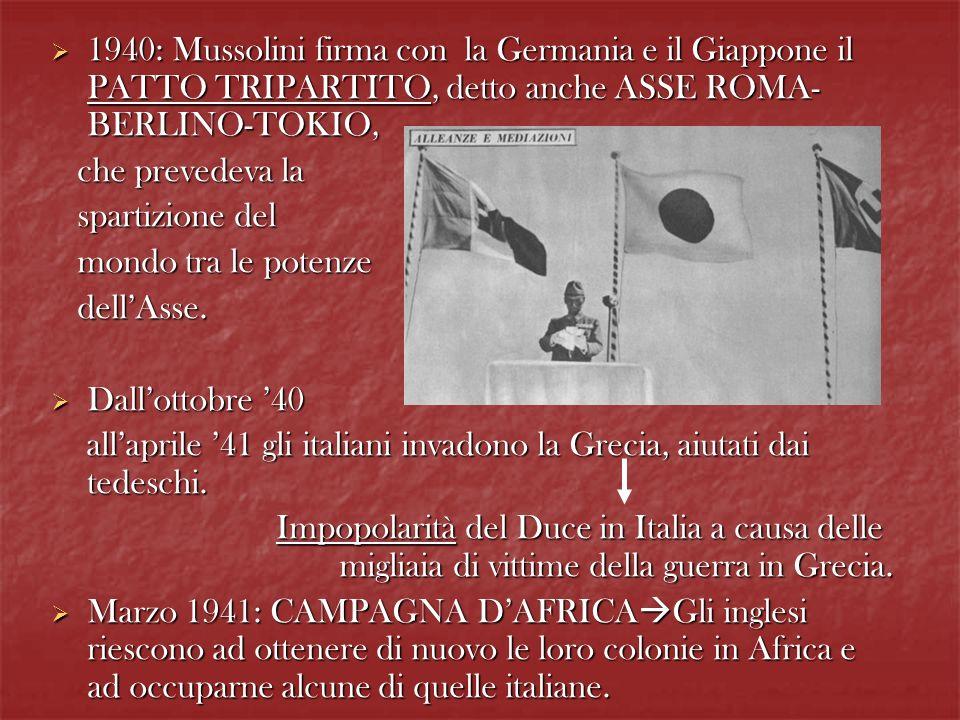 1940: Mussolini firma con la Germania e il Giappone il PATTO TRIPARTITO, detto anche ASSE ROMA- BERLINO-TOKIO, 1940: Mussolini firma con la Germania e