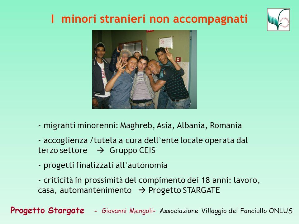 Progetto Stargate – Giovanni Mengoli- Associazione Villaggio del Fanciullo ONLUS I minori stranieri non accompagnati - migranti minorenni: Maghreb, As