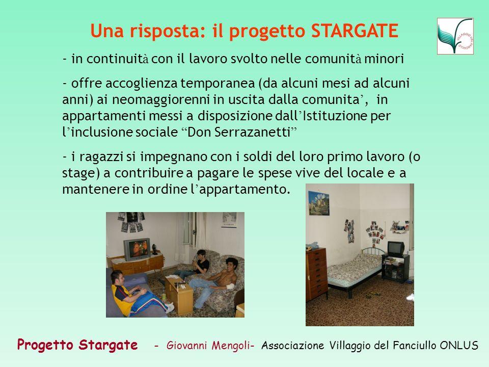 Progetto Stargate – Giovanni Mengoli- Associazione Villaggio del Fanciullo ONLUS Una risposta: il progetto STARGATE - in continuit à con il lavoro svo