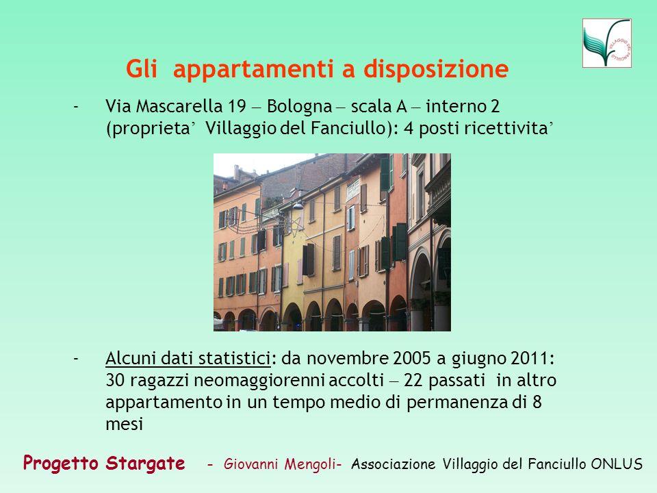 Progetto Stargate – Giovanni Mengoli- Associazione Villaggio del Fanciullo ONLUS Gli appartamenti a disposizione -Via Mascarella 19 – Bologna – scala