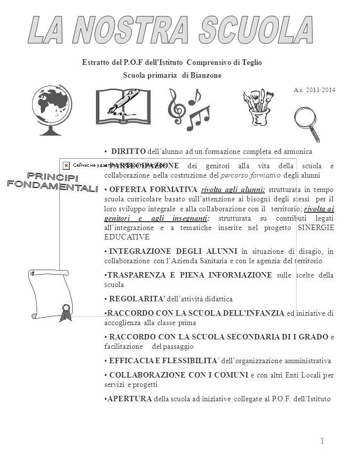 1 Estratto del P.O.F dellIstituto Comprensivo di Teglio Scuola primaria di Bianzone DIRITTO dellalunno ad un formazione completa ed armonica PARTECIPA