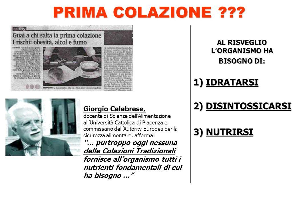 AL RISVEGLIO LORGANISMO HA BISOGNO DI: 1) IDRATARSI 2) DISINTOSSICARSI 2) DISINTOSSICARSI 3) NUTRIRSI Giorgio Calabrese, docente di Scienze dellAlimen