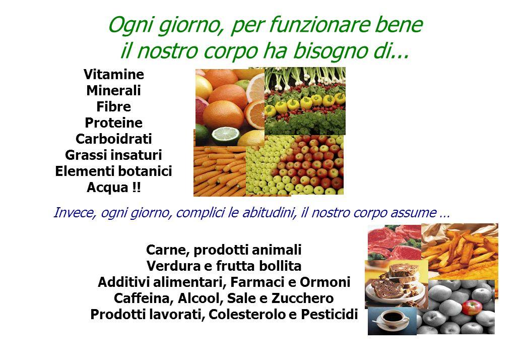 Ogni giorno, per funzionare bene il nostro corpo ha bisogno di... Vitamine Minerali Fibre Proteine Carboidrati Grassi insaturi Elementi botanici Acqua