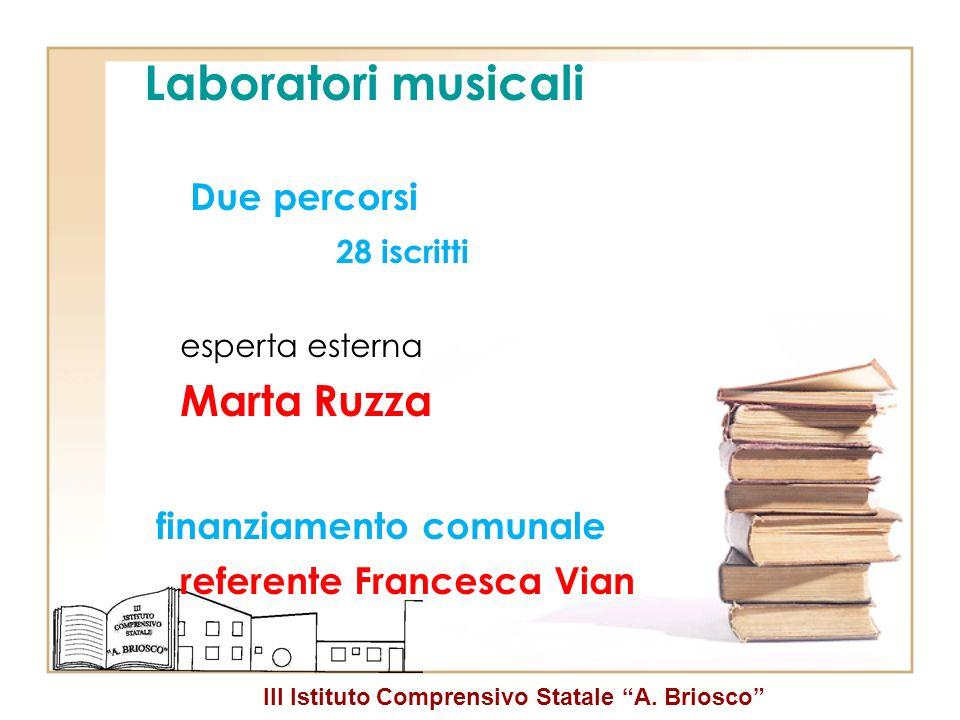 III Istituto Comprensivo Statale A. Briosco Laboratori musicali Due percorsi 28 iscritti esperta esterna Marta Ruzza finanziamento comunale referente