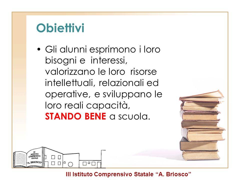 III Istituto Comprensivo Statale A. Briosco Obiettivi Gli alunni esprimono i loro bisogni e interessi, valorizzano le loro risorse intellettuali, rela