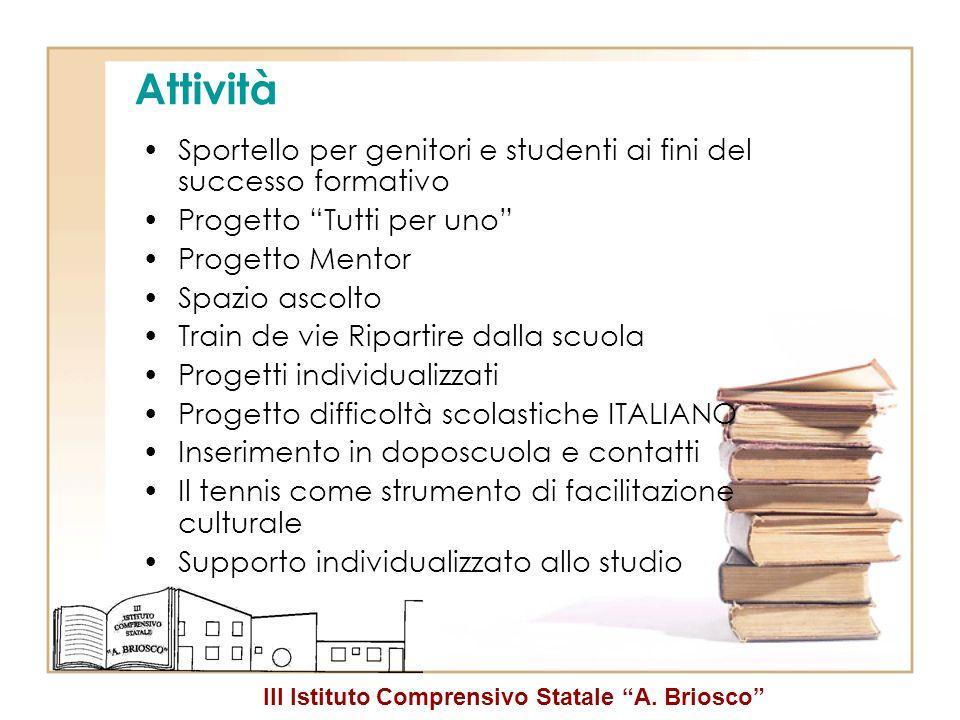 III Istituto Comprensivo Statale A. Briosco Attività Sportello per genitori e studenti ai fini del successo formativo Progetto Tutti per uno Progetto