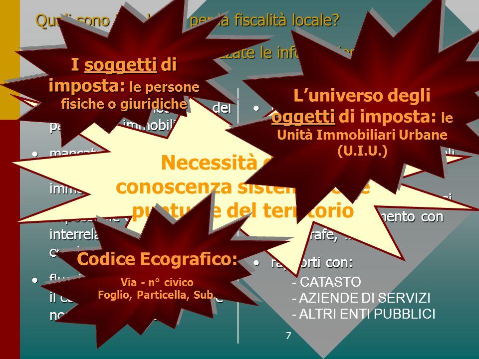7 Quali sono i problemi per la fiscalità locale. Come possono essere utilizzate le informazioni.